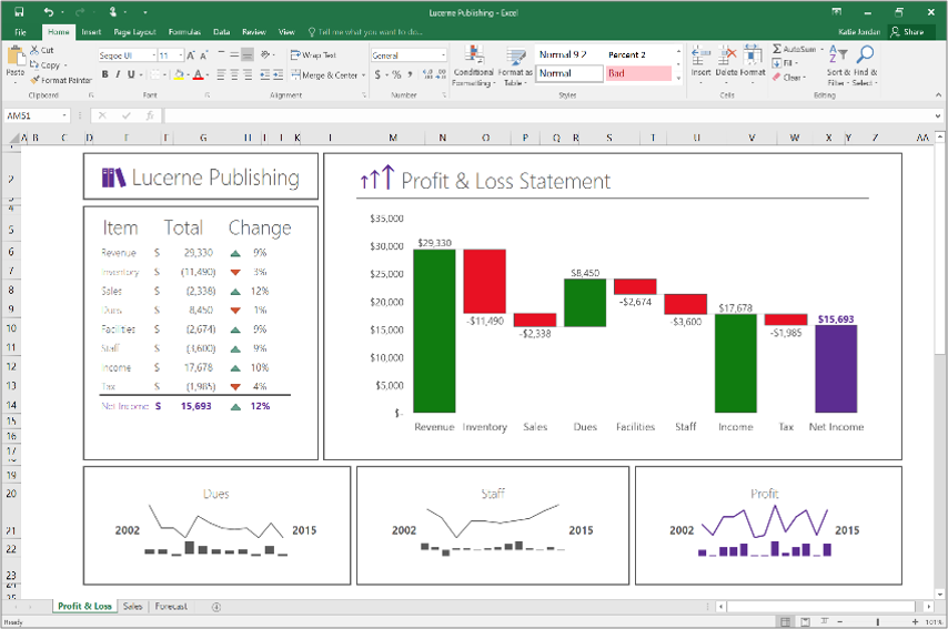 Excel 2016 Waterfall